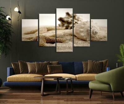 Sea Shells And Starfish On Sand - 5 Panel Canvas Print Wall Art Set