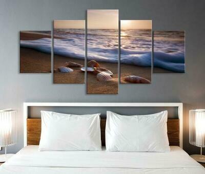 Sea Shells On Beach With Waves - 5 Panel Canvas Print Wall Art Set