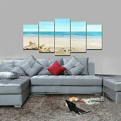 Seashell Seascape - 5 Panel Canvas Print Wall Art Set