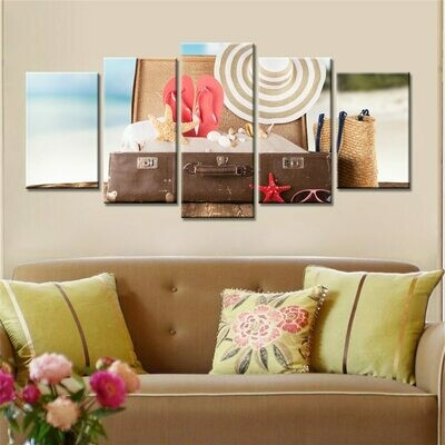Seaview Sea Shells Straw Hat - 5 Panel Canvas Print Wall Art Set