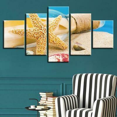 Starfish Sea Shells - 5 Panel Canvas Print Wall Art Set