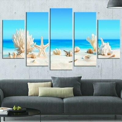 Blue Seashells On Beach - 5 Panel Canvas Print Wall Art Set