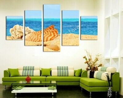 Nature Shell Seaview - 5 Panel Canvas Print Wall Art Set