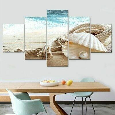 Pearl And Shell - 5 Panel Canvas Print Wall Art Set