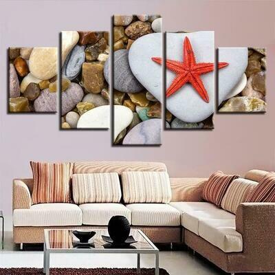 Red Starfish Sea Shells - 5 Panel Canvas Print Wall Art Set