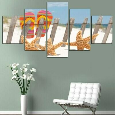 Sea Beach Shell Starfish - 5 Panel Canvas Print Wall Art Set