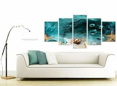 Sea Shells Under The Sea - 5 Panel Canvas Print Wall Art Set