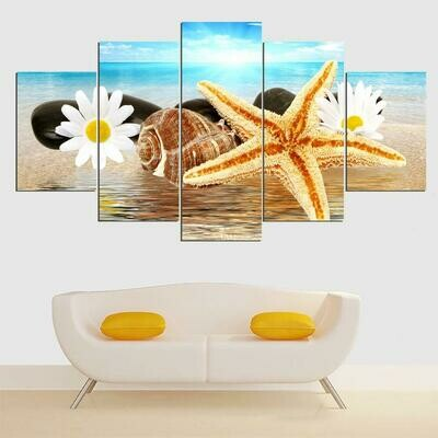 Seascape And Shells - 5 Panel Canvas Print Wall Art Set