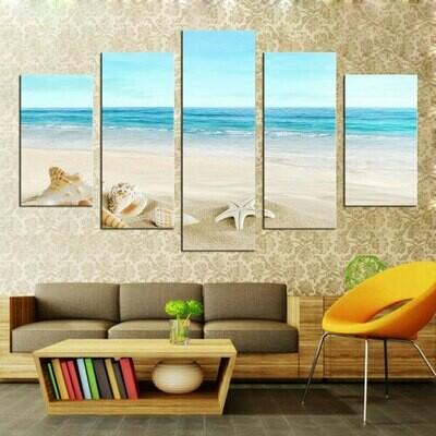 Seashells On Tropical Beach - 5 Panel Canvas Print Wall Art Set