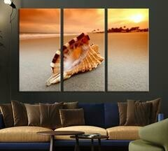 The Big Sea Shell On The Beach - 5 Panel Canvas Print Wall Art Set
