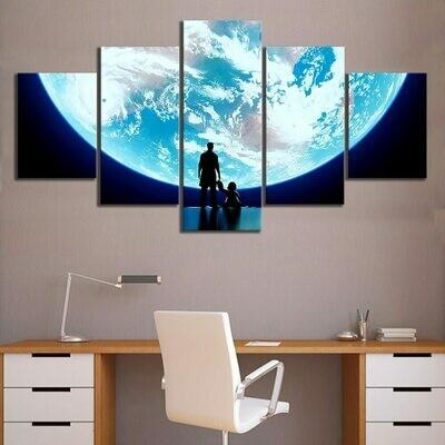 Super Moon - 5 Panel Canvas Print Wall Art Set