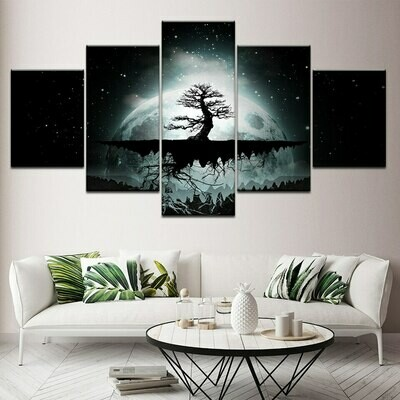 Tree In Larger Moon - 5 Panel Canvas Print Wall Art Set