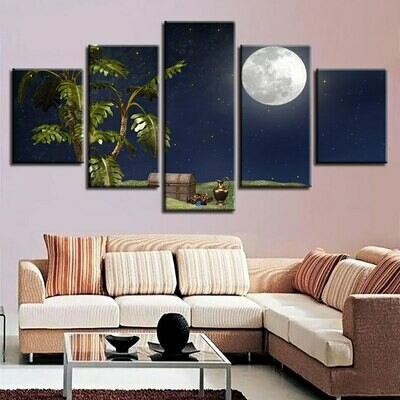 Trees Treasure Box Moon Night Scene - 5 Panel Canvas Print Wall Art Set