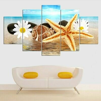 Sea Beach Shell Painting - 5 Panel Canvas Print Wall Art Set