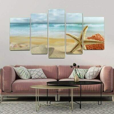 Seashell Starfish Vibrant - 5 Panel Canvas Print Wall Art Set