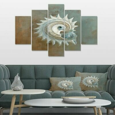 Seashell Treasures From The Sea - 5 Panel Canvas Print Wall Art Set