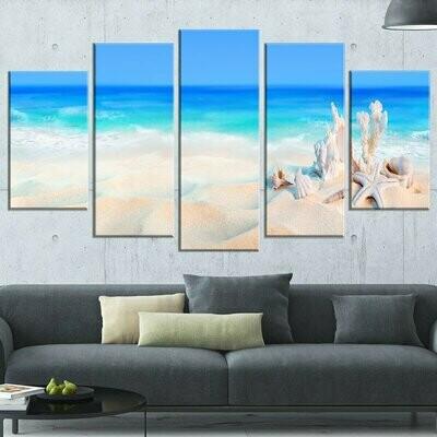 Seashells On Seashore - 5 Panel Canvas Print Wall Art Set