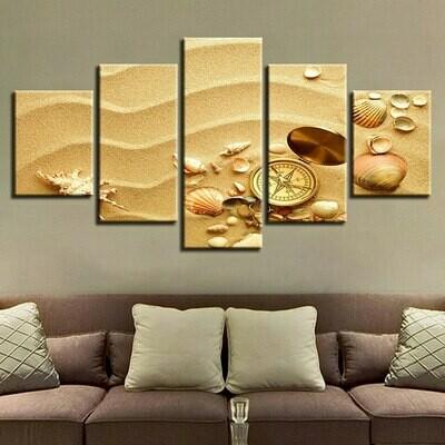 Shell And Compass Sand - 5 Panel Canvas Print Wall Art Set