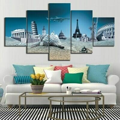 Shell Shark Seascape - 5 Panel Canvas Print Wall Art Set