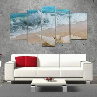 Starfish Sea Ocean Wave - 5 Panel Canvas Print Wall Art Set