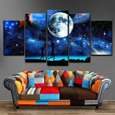 Starry Sky Moon - 5 Panel Canvas Print Wall Art Set