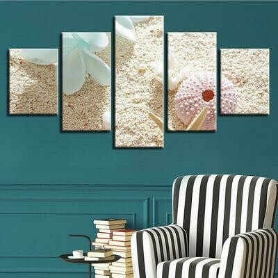 White Flower And Sea Shells - 5 Panel Canvas Print Wall Art Set