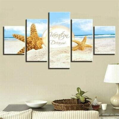 Vacation Dreams - 5 Panel Canvas Print Wall Art Set