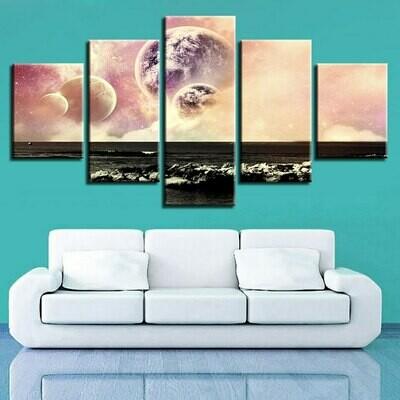 Spaceman Earth Jupiter Venus Sun Moon Universe - 5 Panel Canvas Print Wall Art Set