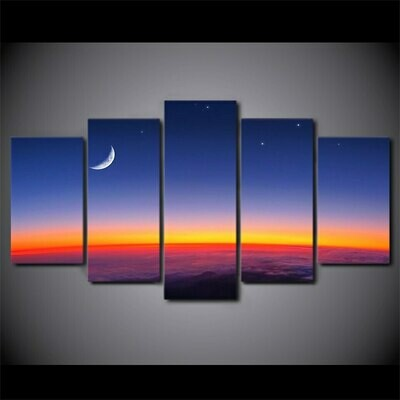 Starry Sky Moon Poster - 5 Panel Canvas Print Wall Art Set