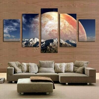 The Big Moon - 5 Panel Canvas Print Wall Art Set