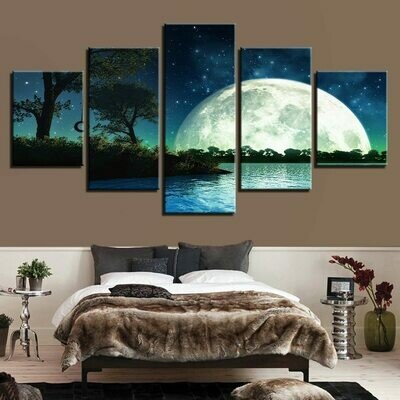 Tree Wall Art Moon - 5 Panel Canvas Print Wall Art Set
