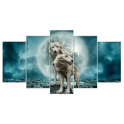 Wolves In The Moon Modern - 5 Panel Canvas Print Wall Art Set