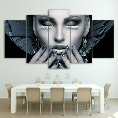 Beauty Nail - 5 Panel Canvas Print Wall Art Set