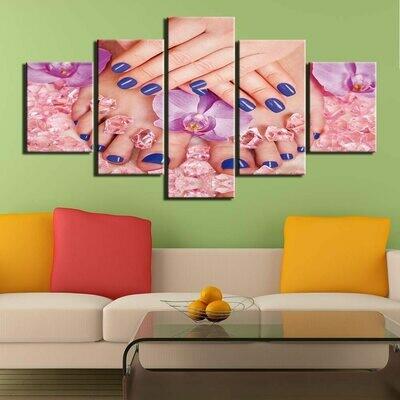 Blue Nail - 5 Panel Canvas Print Wall Art Set