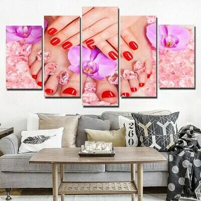 Bright Red Nail - 5 Panel Canvas Print Wall Art Set