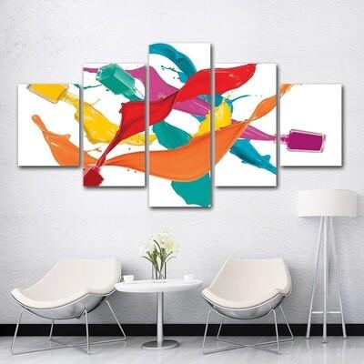 Candy Color Nail - 5 Panel Canvas Print Wall Art Set