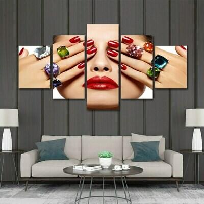 Gemstone Nail - 5 Panel Canvas Print Wall Art Set