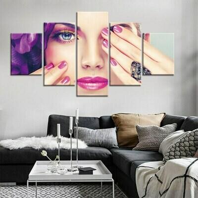 Lavender Nail - 5 Panel Canvas Print Wall Art Set