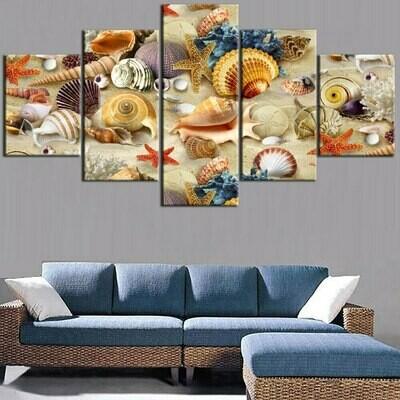 Summer Beach Shell Starfish Landscape - 5 Panel Canvas Print Wall Art Set