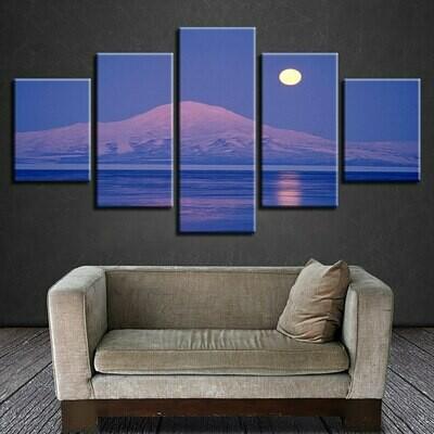 Snow Mountain Moon Night - 5 Panel Canvas Print Wall Art Set