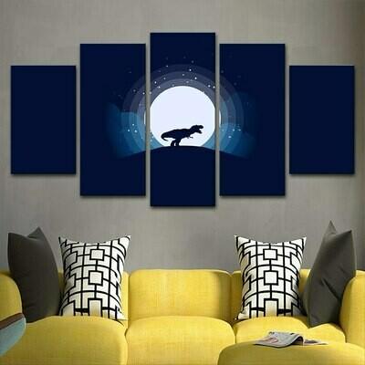 Tyrannosaurus Animal And Moon Night Scene - 5 Panel Canvas Print Wall Art Set
