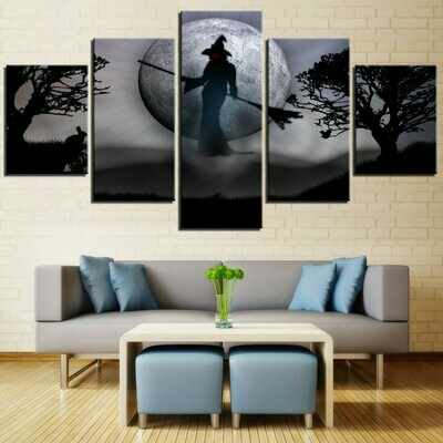 Witch Full Moon Festival - 5 Panel Canvas Print Wall Art Set