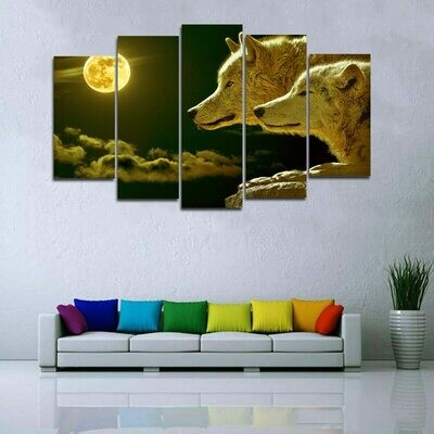 Wolf And Moon - 5 Panel Canvas Print Wall Art Set