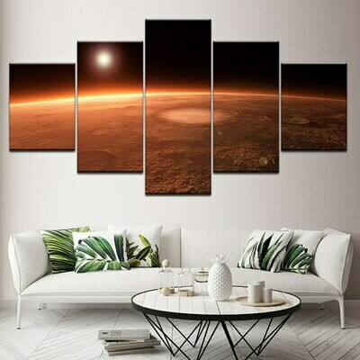 Yellow Beach And The Moon - 5 Panel Canvas Print Wall Art Set