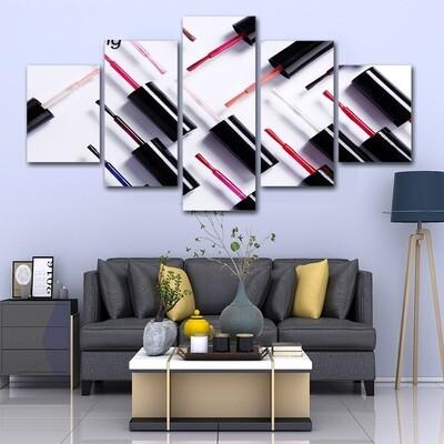 Fashion Nail Polishes - 5 Panel Canvas Print Wall Art Set