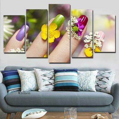 Flower Nail - 5 Panel Canvas Print Wall Art Set
