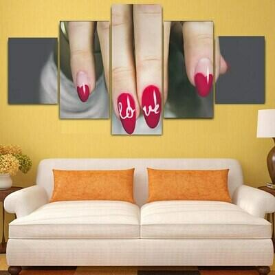 Love Nail - 5 Panel Canvas Print Wall Art Set