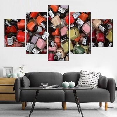Nail Polishes - 5 Panel Canvas Print Wall Art Set