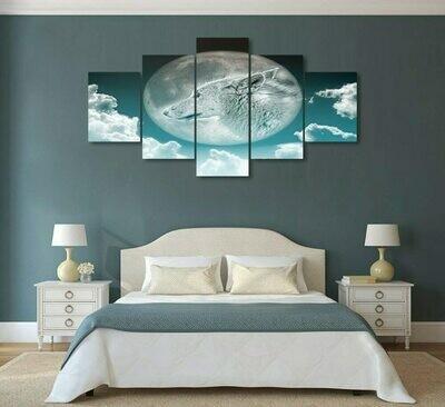 Wolf & Full Moon - 5 Panel Canvas Print Wall Art Set