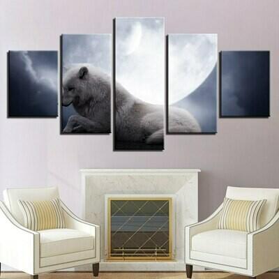 Wolf Under Moon - 5 Panel Canvas Print Wall Art Set